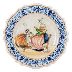 19th Century French Malicorne Faience Plate