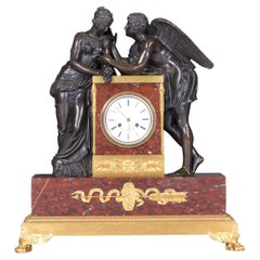 19th Century French Mantle Clock Signed Caron a Paris Depicting Psyche & Cupid