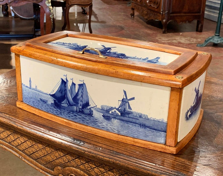 19th Century French Maple And Porcelain Tile Bread Box
