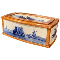 19th Century French Maple and Porcelain Tile Bread Box from Villeroy and Boch