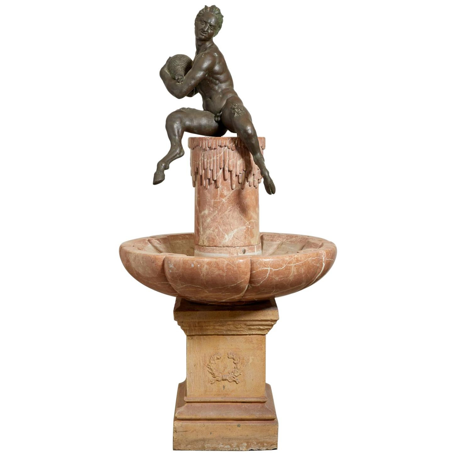 19th Century French Marble and Bronze Fountain