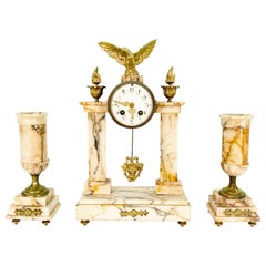 19th Century French Marble and Bronze Garniture Clock