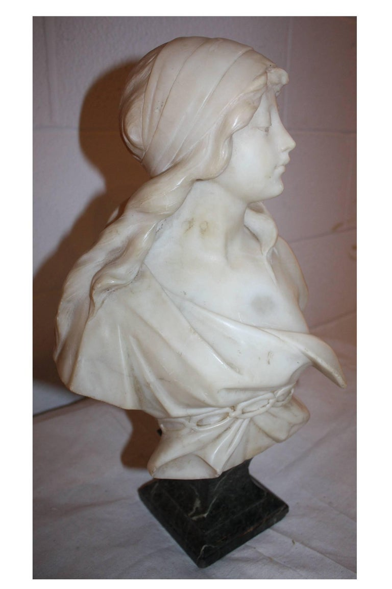 Hand-Carved 19th Century French Marble Bust For Sale