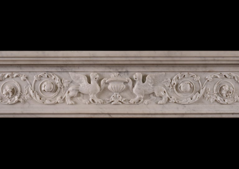 Louis XVI 19th Century French Marble Fireplace For Sale