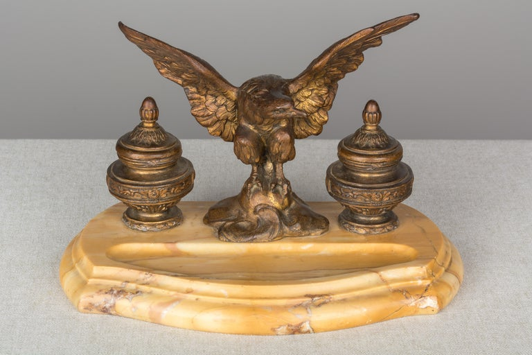 Empire 19th Century French Marble Inkwell with Bronze Eagle For Sale