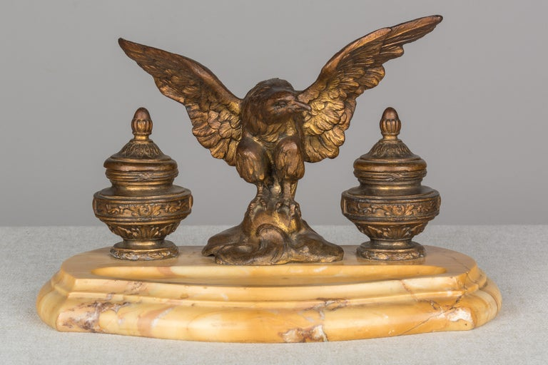 Carved 19th Century French Marble Inkwell with Bronze Eagle For Sale