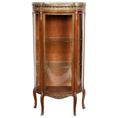 19th Century French Marble Kingwood Vitrine Display Cabinet