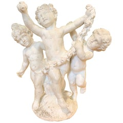 19th Century French Marble Sculpture of Frolicking Children