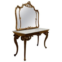 19th Century French Marble Top Gilt Centre Table and Matching Wall Mirror