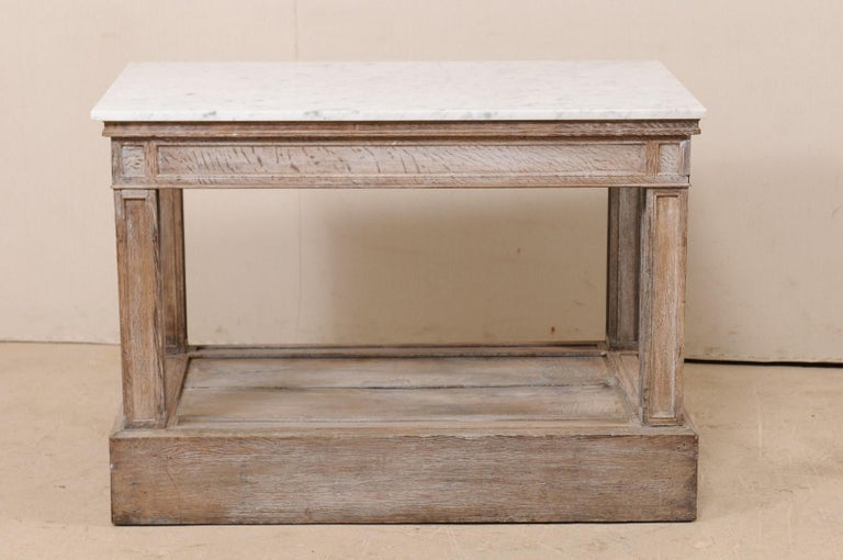 19th Century French Marble-Top Kitchen Island, Work Table or ...