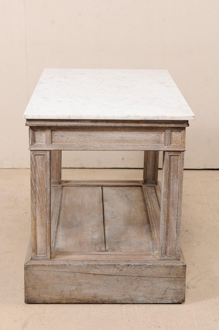 Carved 19th Century French Marble Top Kitchen Island Work Table Or Sofa For