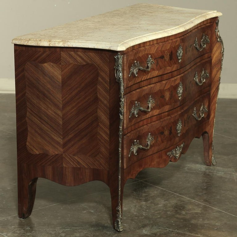 Louis XV 19th Century French Marble-Top Serpentine Commode For Sale