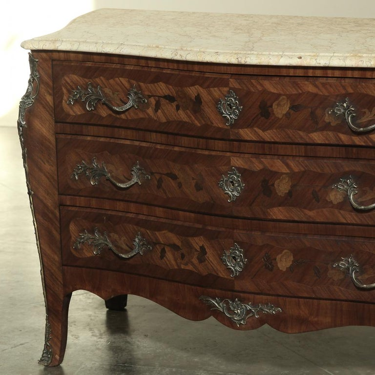 Bronze 19th Century French Marble-Top Serpentine Commode For Sale