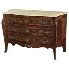 19th Century French Marble-Top Serpentine Commode