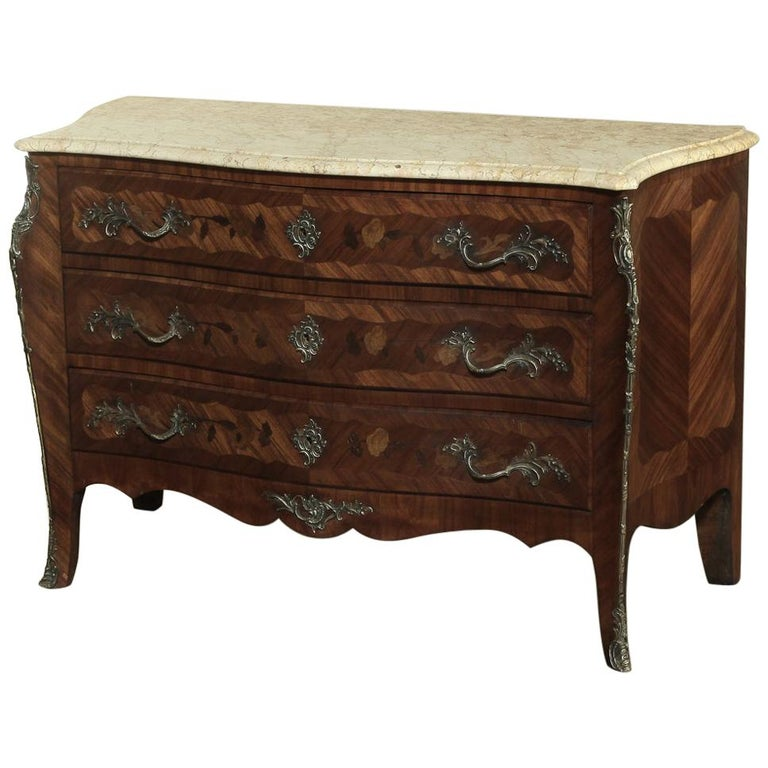 19th Century French Marble-Top Serpentine Commode For Sale