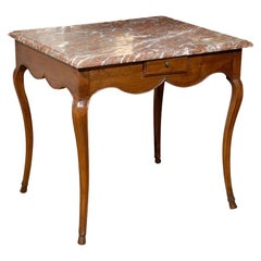 19th Century French Marble-Top Side Table Louis XV in Walnut Parisian