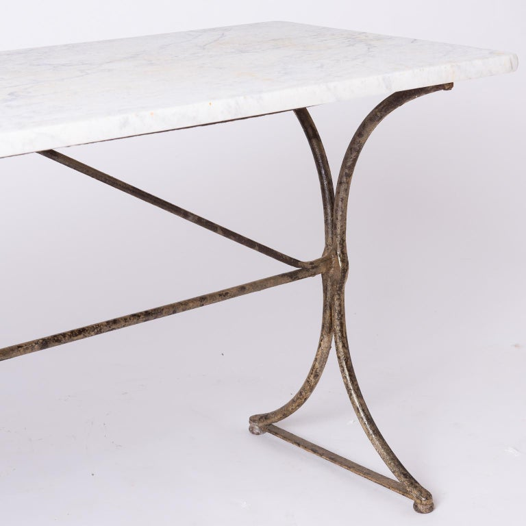 19th Century French Marble Top Table with Handwrought Iron Base For Sale 3