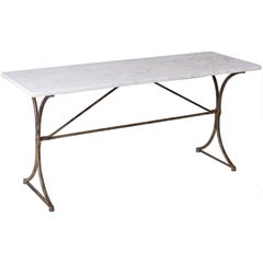 19th Century French Marble Top Table with Handwrought Iron Base