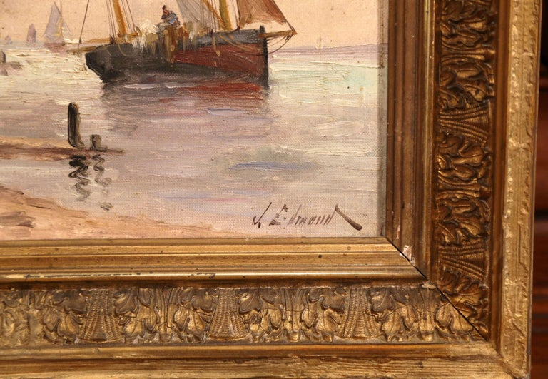 Carved 19th Century French Marine Scene Oil on Canvas Painting Signed J. Edmond For Sale