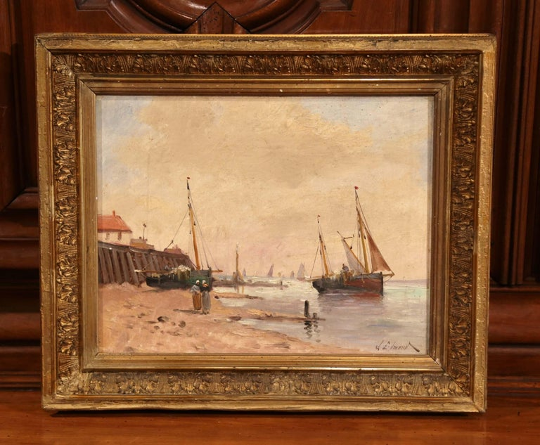 19th Century French Marine Scene Oil on Canvas Painting Signed J. Edmond In Excellent Condition For Sale In Dallas, TX