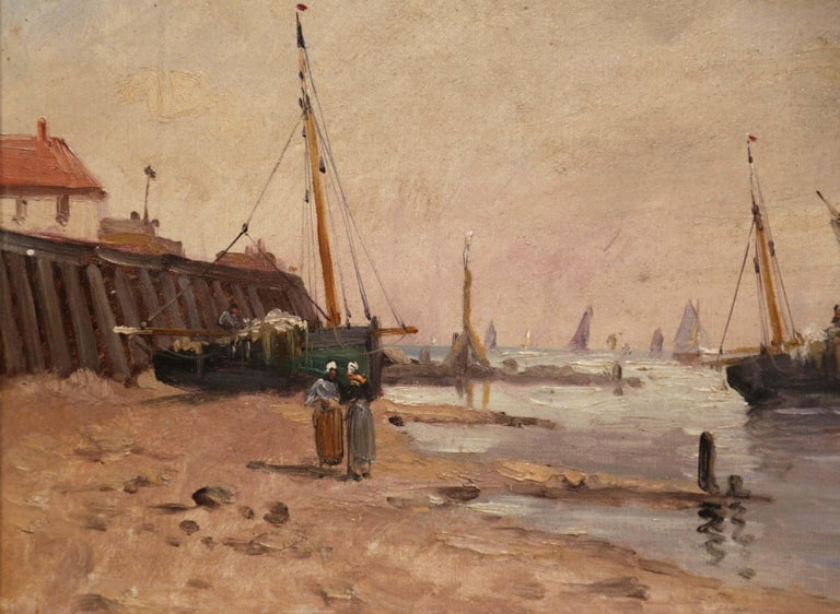 19th Century French Marine Scene Oil on Canvas Painting Signed J. Edmond For Sale 1