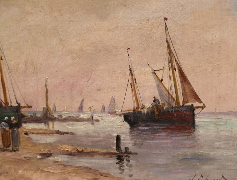 19th Century French Marine Scene Oil on Canvas Painting Signed J. Edmond For Sale 2