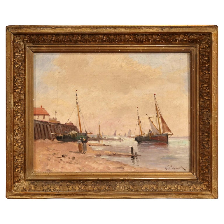19th Century French Marine Scene Oil on Canvas Painting Signed J. Edmond For Sale