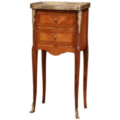 19th Century French Marquetry and Bronze Walnut Nightstand with Grey Marble Top