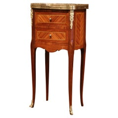 19th Century French Marquetry and Bronze Walnut Nightstand with Marble Top