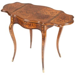 19th Century French Marquetry Drop-Leaf Table