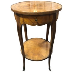 19th Century French Marquetry Inlaid Walnut Side Table