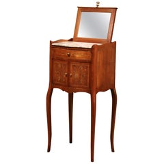 19th Century French Marquetry Walnut and Marble Nightstand with Pull up Mirror