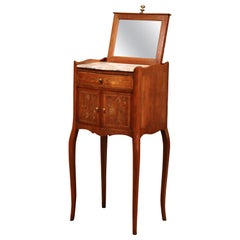 19th Century French Marquetry Walnut and Pull up Mirror Nightstand with Marble
