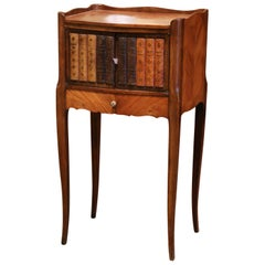 """19th Century French Marquetry Walnut Nightstand with """"Trompe L'Oeil"""" Book Door"""