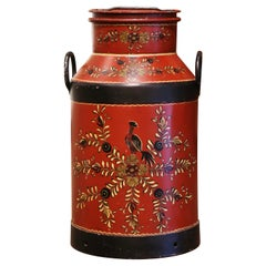 19th Century French Metal Milk Can with Hand Painted Foliage and Bird Motifs