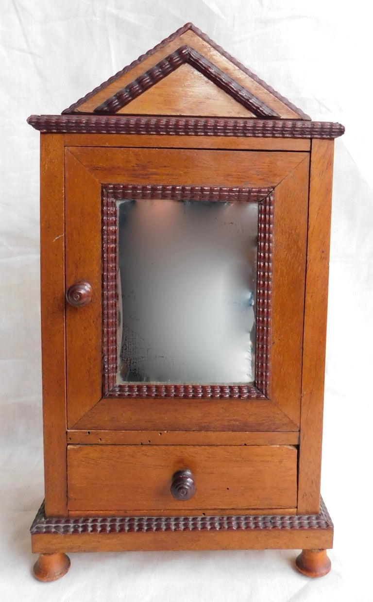 French cabinetmakers display model armoire cabinet with (the original) mirrored door, circa 1860.