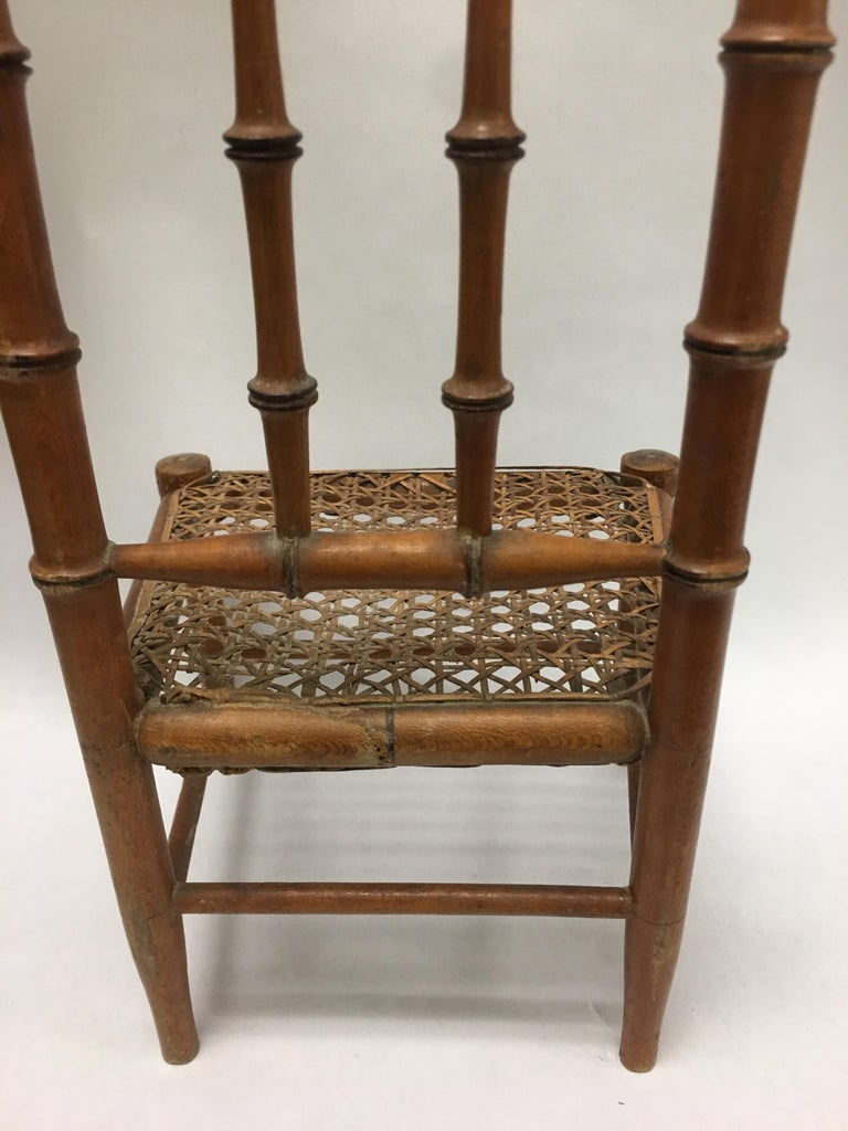 19th Century French Miniature Fruitwood Faux Bamboo and Cane Doll Chair In Good Condition For Sale In Stamford, CT