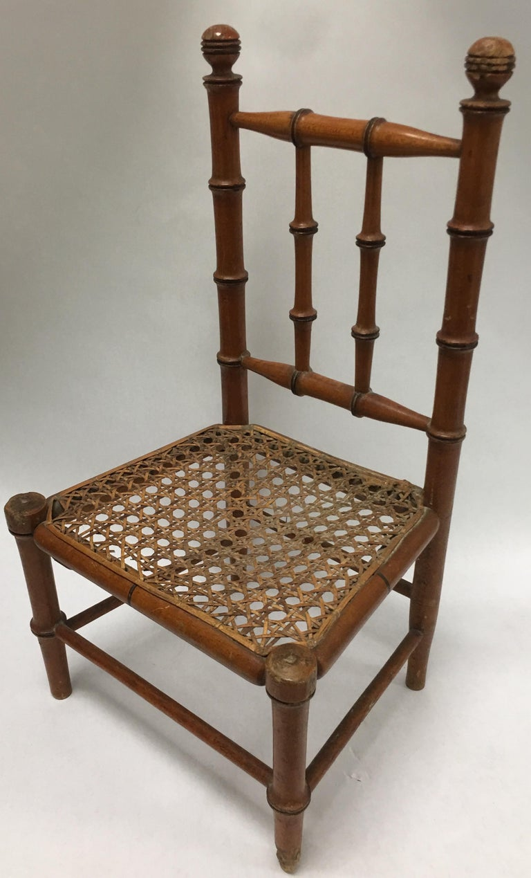 19th Century French Miniature Fruitwood Faux Bamboo and Cane Doll Chair For Sale 2