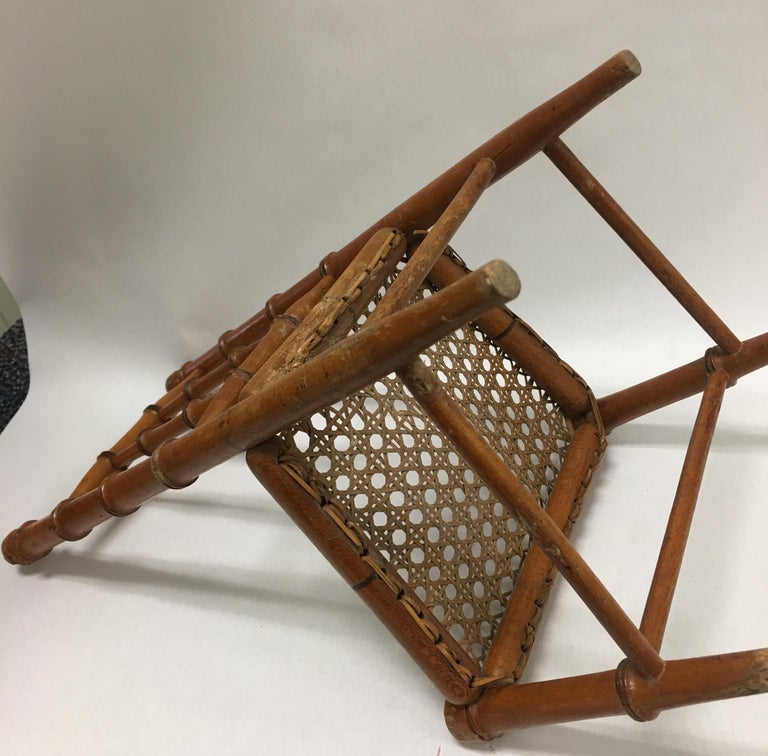 19th Century French Miniature Fruitwood Faux Bamboo and Cane Doll Chair For Sale 3