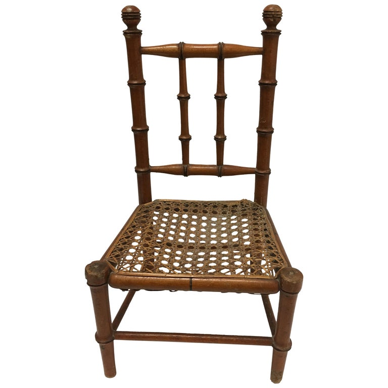 19th Century French Miniature Fruitwood Faux Bamboo and Cane Doll Chair For Sale