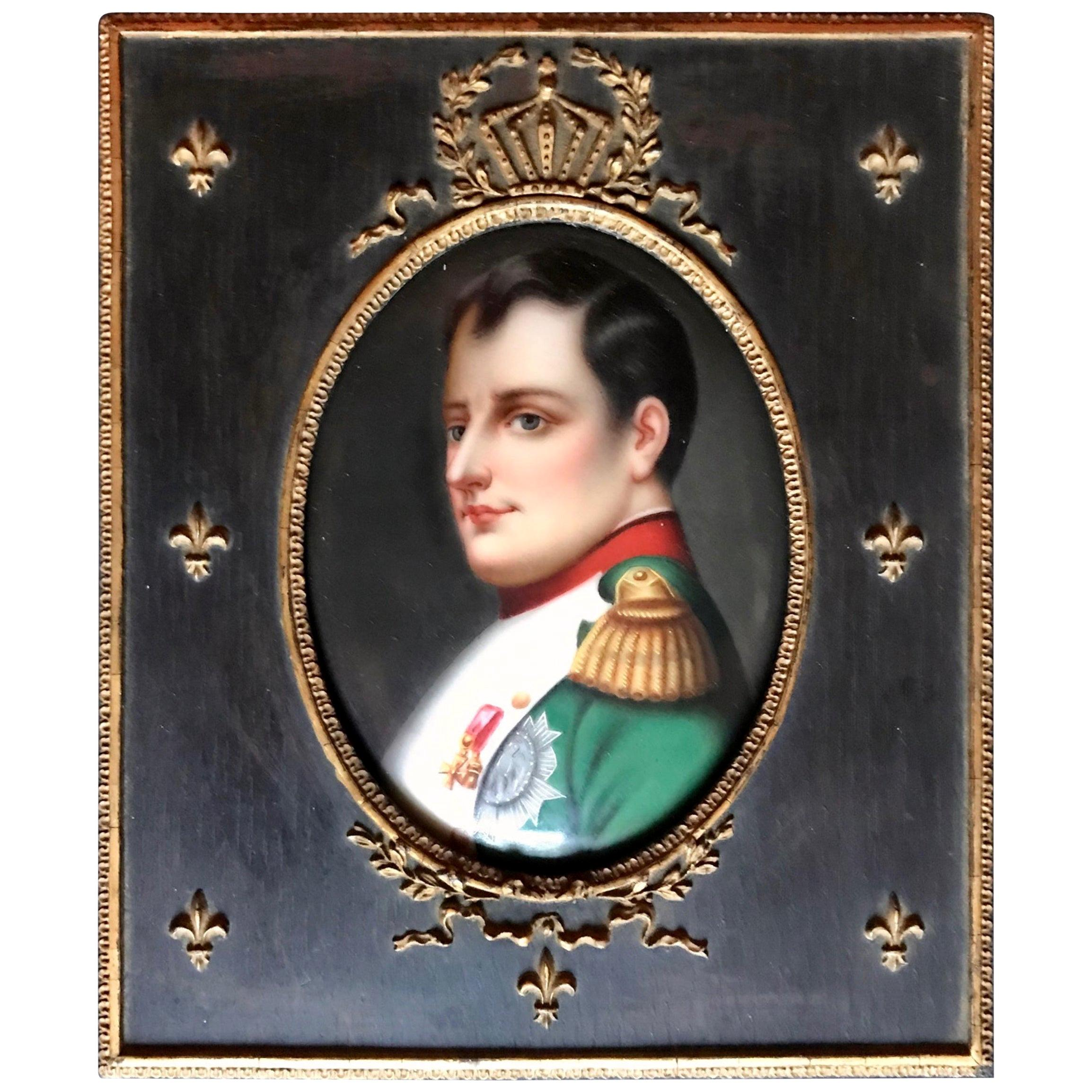19th Century French Miniature of Napoleon I after Paul Delaroche in Period Frame
