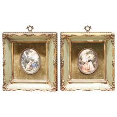 19th Century French Miniature Painted on Ivory, Set of 2, Jean Baptiste Hilaire