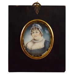19th Century French Miniature Portrait, Buxom Woman in Blue Ribboned Bonnet