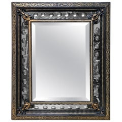 19th Century French Mirror with an Ebonized and Silvered Bronze Finish