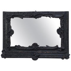 19th Century French Mirror with Wooden Carved Painted Frame, 1890s