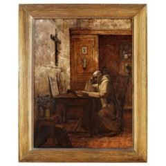 19th Century French Monk Oil Painting in Gilt Frame Signed J. Bastet, 1894