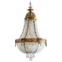 19th Century French Montgolfier Empire Bronze Crystal Beaded Chandelier