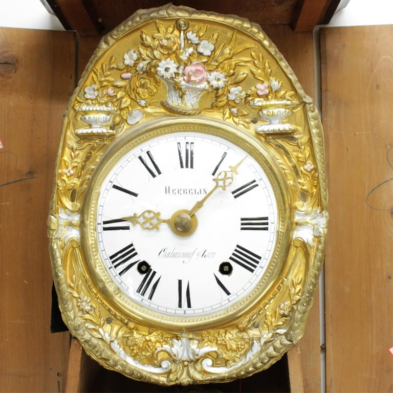 Faux Bois 19th Century French Morbier Tall Case Clock For Sale