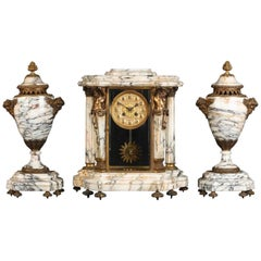 19th Century, French Napoleon 111 Three-Piece Marble Clock Set