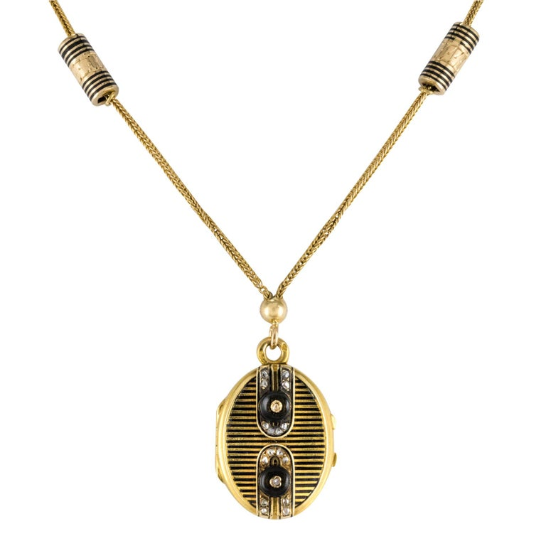 19th Century French Napoleon 3 Diamond Enamelled Locket Pendant Necklace For Sale